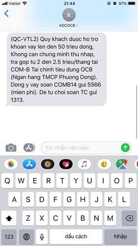 Tin nhắn thông báo khách hàng có cơ hội vay tiền mặt qua SIM